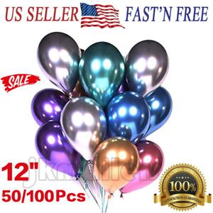 "50/100 Pcs Metallic Balloons Chrome Shiny Latex Thicken 12"" for Wedding Party"