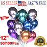 "50/100 Pcs Metallic Balloons Chrome Shiny Latex Thicken 12"" for Wedding Party"