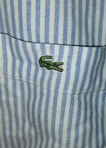 Lacoste Large (42) Striped Long Sleeve Shirt Casual Oxford Devanlay Blue White