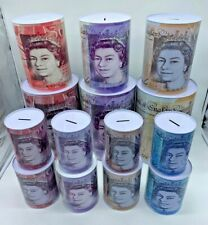 More details for £5  £10 £20 £50 pound note design kids money box tin saving cash stock in