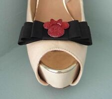 2 Quirky Black Bow Shoe clips with Red Mini Mouse - Other ribbon colours avail.