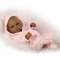Cute Handmade African American Reborn Baby Doll Full Vinyl Newborn Girl Doll Toy