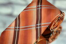 Jos A Bank Men's Tie Sunset Blue Brown Check Woven Silk Necktie