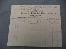 Letterhead Advertising B&M Rattenbury Pork Curers Charlottetown 1898 PEI Murdoch