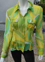 Spencer Jeremy Women's Yellow Green Silk Blouse Top Long Sleeve Size L