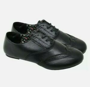 Girls School Shoes Brogue Ladies Lace up Lightweight Soft Smart Sizes 3-8