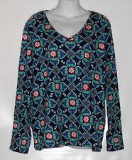 Jones New York Woman Plus Size Cotton Long Sleeve V-Neck Top Peacock Multi 2X
