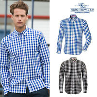 Front Row Fitting Cotton Shirt (FR500) - 100% Checked Slim Shirt