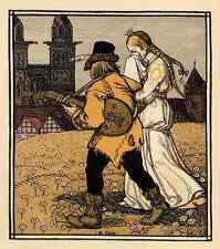 PRINZESSIN & MUSIKANT - Rudolf SCHIESTL 1910 FarbZinkätzung des JUGENDSTIL