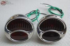 Custom Car Truck Trailier Hot Rod Stainless Tail Light Set Red Lens Nylon Wire