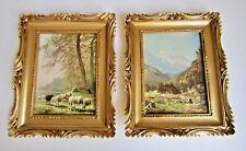 2x Bilderrahmen Gemälde Landschaft schwarzes schaf 33x28  gold Schafe Bauern