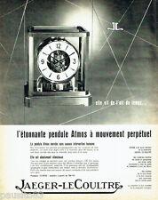 PUBLICITE ADVERTISING 026  1962  Jaeger -Lecoultre pendule Atmos mouvement perpé