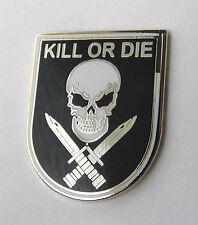 Kill or Die Skull and Cross Swords Biker Lapel Pin 1 inch