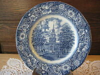 """Vintage Liberty Blue Staffordshire Ironstone Independence Hall Plate, 9 3/4"""""""
