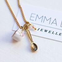 Teacup Necklace Tea Cup Alice in Wonderland Jewellery Charm Gold Pink Vintage