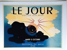 French Poster Print Art Deco 1930s 24x18 Glorious Morning Sunrise Paris The Day
