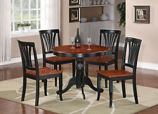 5PC DINETTE KITCHEN DINING SET TABLE WITH 4 WOOD SEAT CHAIRS IN BLACK & CHERRY