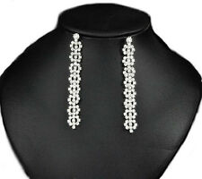 Queen Design Bridal Diamante Shiny Long Drop Dangle Earrings for Weddings E567
