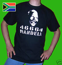 NELSON MANDELA T SHIRT 46664 SOUTH AFRICA BLACK