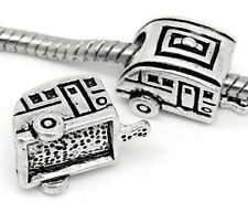 Camper RV Trailer 17mm Antiqued Silver Large 5.3mm Hole European Charm Bead 1pc