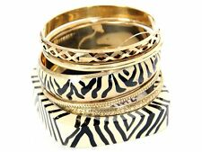 Women's Fashion Tribal Print Ivory Black Bangles Bracelet Set Ivory/Gold