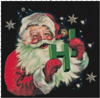 Santa Says HI Vintage Christmas DIGITAL Counted Cross-Stitch Pattern Needlepoint