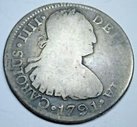1791 NG M Guatemala Silver 2 Reales Antique Spanish Colonial Two Bit Pirate Coin