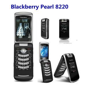 Original BlackBerry Pearl 8220 - Black Unlocked Smartphone Flip Mobile Phone 2G