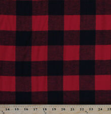 """Buffalo Plaid 1.75"""" Check Red Black Woven Cotton Flannel Fabric by Yard D278.31"""