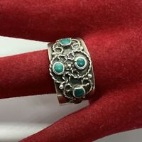 Vintage Signed Sterling Silver Green Turquoise Cigar Band Ring Mexico