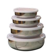 (Set Of4)Steel Mixing bowls food storage Containers Lunch box with tight 4 lids