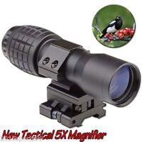 "Tactical 5X Magnifier Rifle Scope Sight w/Flip-to-Side Rail 7/8"" Weaver Mount #5"