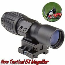 Tactical 5X Magnifier Rifle Scope Sight w/Flip-to-Side Rail 7/8