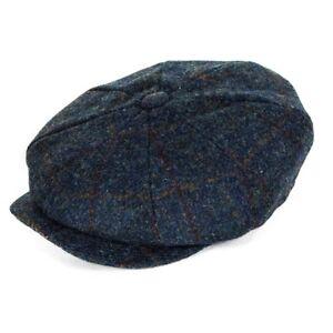 Failsworth Hats Carloway Harris Tweed Bakerboy Cap - Blue Check