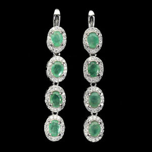 Unheated Oval Emerald 5x4mm Cz 14K White Gold Plate 925 Sterling Silver Earrings