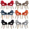 Set of 2 Saarinen Style Twill Accent Dining Arm Chairs - Red Blk Gry Tau Ora Blu