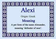 Alexi Personalised Name Meaning Certificate