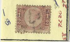 1870 Great Britian Queen Victoria Sc. #58 PL.#20 Used Cat. $80.00 (X2810)