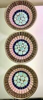 VTG MCM ATOMIC ERA MODERN MOSAICS BY STYSON 3 SMALL BOWLS BLUE PINK&GOLD BROWN