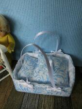 """/""""Rumpelstilzchens/"""" echter Miniatur-BADESCHWAMM,Badezimmer-Deko Puppenstube blau"""