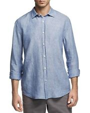 Bloomingdales The Mens Store Linen Chambray Shirt , Size L, MSRP $98