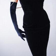 Velvet Gloves Opera Evening Long Elastic Stretchy Velours Flannel Black 60cm
