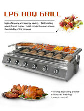 Stainless Steel  6 Burners Gas BBQ Grill Glass Shield LPG 78cm*25cm Net Size