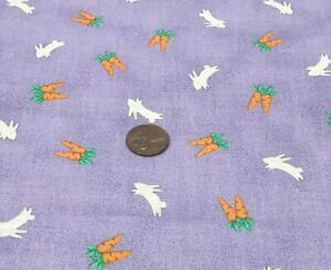 Rabbits Chasing Carrots*Tossed on Lavender*MarcusBrothersTex*100% Cotton Remnant