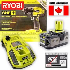 "Ryobi 18V ONE+ 3-Speed 4AH Lithium 1/2"" Cordless Impact Wrench Kit P1830 (P261)"