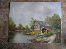 BUCOLIC LANDSCAPE GRIST MILL & WATERWHEEL RIVER OIL ON CANVAS SIGNED T.A. 1980