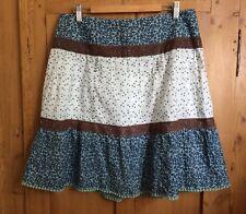 BlendShe (ASOS) Pretty Floral White Brown Green Blue Short Skirt-Size 38 (10/12)