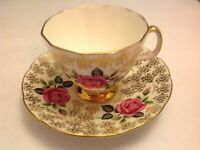 ROYAL ADDERLEY BONE CHINA CUP & SAUCER FLORAL GOLD LACE CHINTZ PINK ROSES