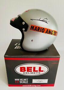 Mario Andretti Signed 50th Anniversary Indy 500 Win Bell 1/2 Scale Mini Helmet