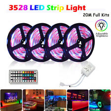 66FT RGB Flexible LED Strip Light 3528 SMD Remote Fairy Lights Room TV Party 20M